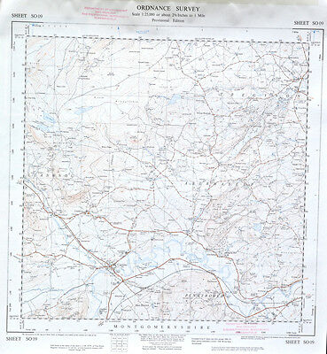 Vintage original 1950s/60s unfolded map Wales: Caersws, Tregynon SO09
