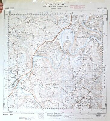 Vintage original 1950s/60s unfolded map Wales & Gloucestershire: Monmouth SO51