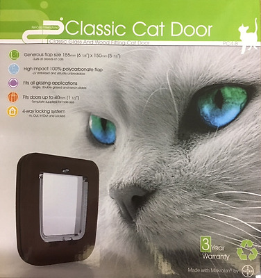 Cat Flap Brown 4 Way Locking Door Fits Glass Wood Single Glazed Double Glazed