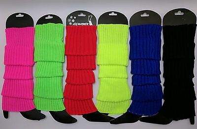 Leg Warmers Pair Knitted Women Costume Neon Dance Party Knit Legwarmers 80s