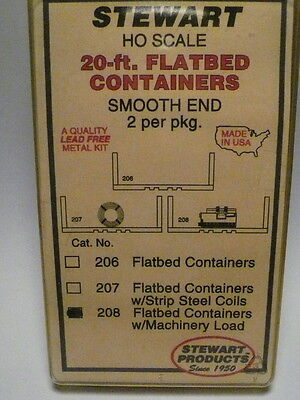 """Stewart-Tomar HO Flatbed Containers w/ Machinery Load (2) """"KIT FORM"""" #208"""