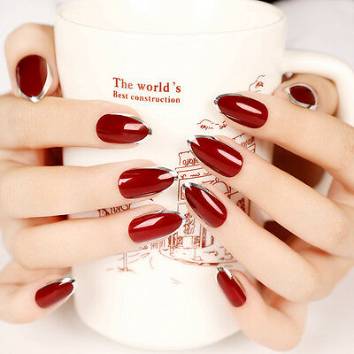 24 pcs Vampire Queen Red Nails Fake Short Sharp Stiletto Sliver Side False Nails