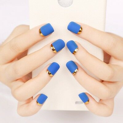 24pcs Solid Matte Blue Scrub Fake Nails Short Round Head Full with Glue Sticker