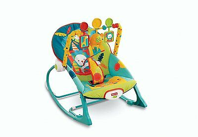 Infant Bouncer Chair Vibrating Baby Rocker Bouncy Seat Blue Animal Safari