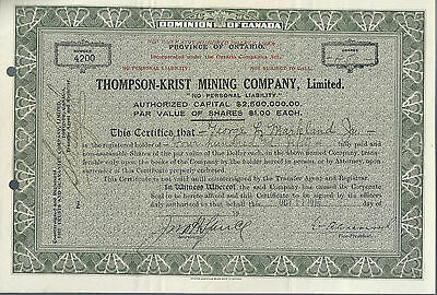 CANADA, Thompson-Krist Mining Co Limited Stock Certificate, 1918 Ontario