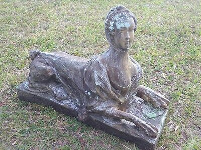 Large Vintage Sphinx Art Deco Egyptian Antique  Statue Lady Woman Lion 3ft 5in