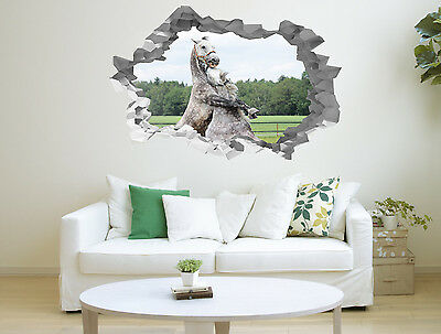 White Horses Hole in The Wall 3D Effect Wall Sticker Art Decal Mural 1328