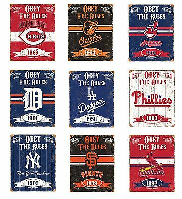 Vintage Style MLB Embossed Obey The Rules Heavy Duty Metal Sign