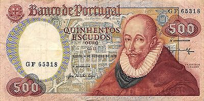 Portugal 500 Escudos  4.10.1979  Series GF circulated Banknote