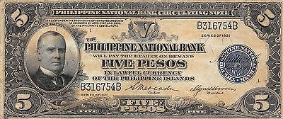 Philippines 5 Pesos  Series of  1921  P 53   circulated Banknote 5D