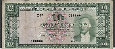 Turkey 10 Lira 26.10.1953 P 160a Series Z 67 Circulated Banknote
