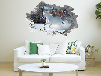 White Horse Hole in the Wall 3D Effect Wall Sticker Art Decal Mural 1330