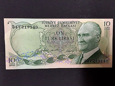 TURKEY 10 TURKISH LIRA 1966 TURK LIRASI Banknote Bill L.1930 ~ UNC