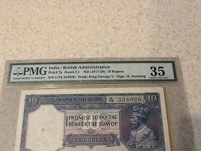 India 10 Rupees 1917-30 P7A Signature H. Denning PMG 35 Choice Very Fine