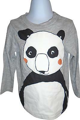USED Boys H&M Grey Panda Decal Long Sleeve Top Size 18-24 Months (E.B)