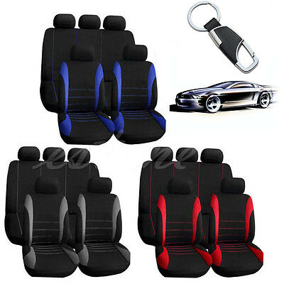 10 Part Car Seat Covers Red Set for Auto w/Steering Wheel/Belt Pad/Head Rests