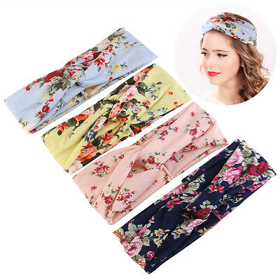 4*Women Elastic Turban Head Wrap Headband Rose Flower Twisted Hair Band
