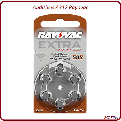 Lot de piles boutons auditives Rayovac, appareils auditifs A312, de 1 à 60 piles