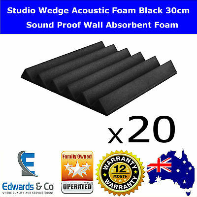 Studio Wedge Acoustic Foam Black 30cm Sound Noise Proof Wall Absorbent Bass