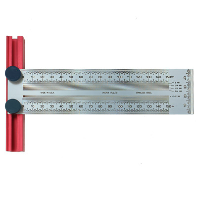 Incra 150mm Stainless Steel Precision T-Rule - to 1/4mm