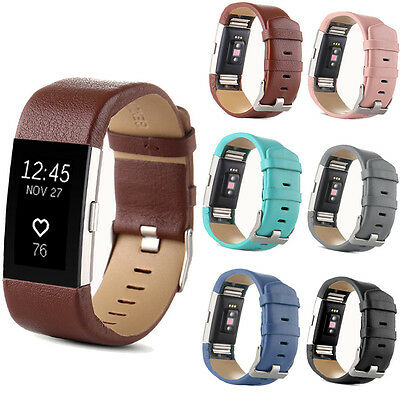 Genuine Leather Watch Band Strap For Fitbit Charge 2 Wrist Band Bracelet Sports