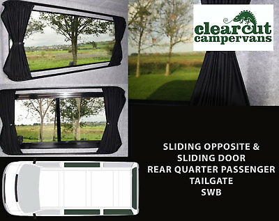 4 x VW T5/T6 Campervan Blackout Curtains Sets, (SWB Tailgate), Tie-backs+ popper
