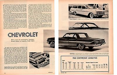 1961 Chevrolet ~ Original 2-Page New Car Preview Article / Ad
