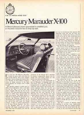 1969 Mercury Marauder X-100 429  ~ Great 4-Page Road Test / Article / Ad