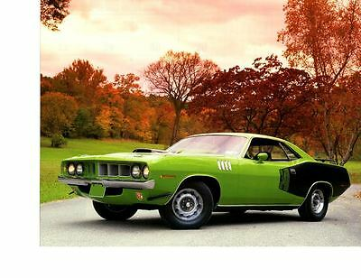 1971 Plymouth Cuda 340 Sassy Green  ~  Nice Calendar Photo / Picture / Ad