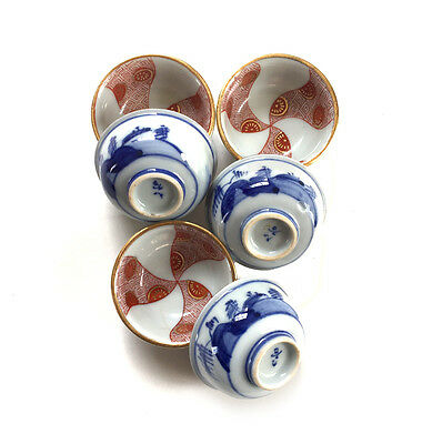 Vintage 6 Japanese SAKE Cups Blue White Orange Handpainted Signed Marked