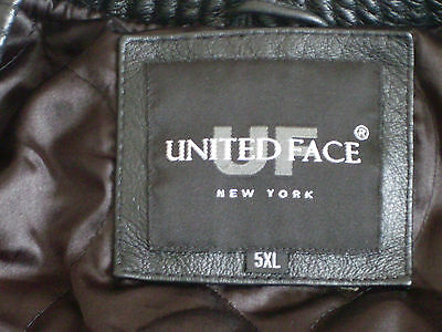 Women's/Girls United Face New York Black Leather Jacket Size 5XL