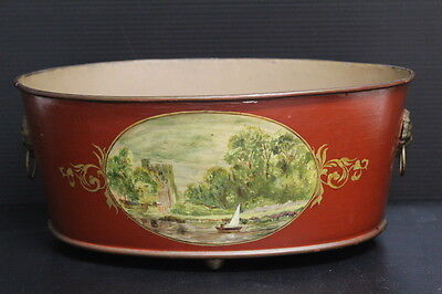 Vintage Hand Painted Tole Metal Oval Planter Centerpiece w/ Sailboat Scene Home