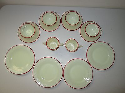 McKee Laurel French Ivory Red Trim Children's Tea Set