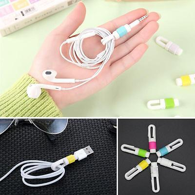 Cable Organizer Earphone Silicone Cord Headphone Wire Ties Protector (Black)