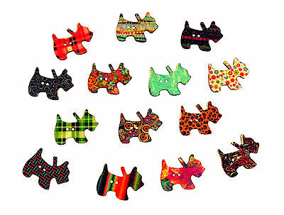 50 x Wooden Patterned Dog Buttons - Crafts, Embellishments, Card Toppers