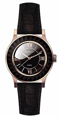 Rampage Watch Rose gold Case with Black Slim Strap Women's Watch RP1024RGBK