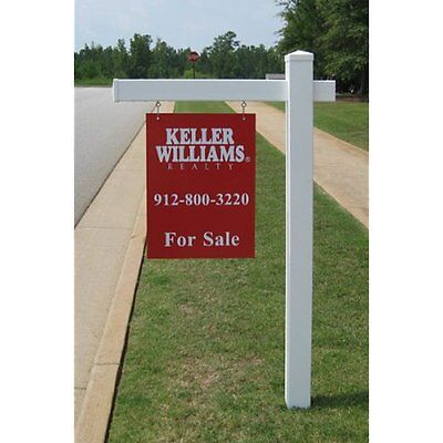 Decorative Signs Vinyl PVC Real Estate Sign Post - White with Flat Cap