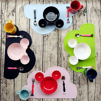 New Disney Mickey Mouse Shaped Plastic Bowl Cartoon Lattice Plate Dish Tableware