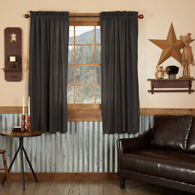 """BURLAP Natural with Green Check Panel Set 63"""" CURTAINS Country Primitive"""