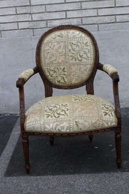Striking 19th C. French Louis Style Walnut Carved Side, End, Accent Armchair