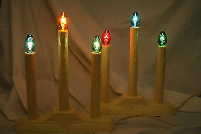 Two Vintage 3-Tier Christmas Candolier Electric Window Candelabra Candle Lights