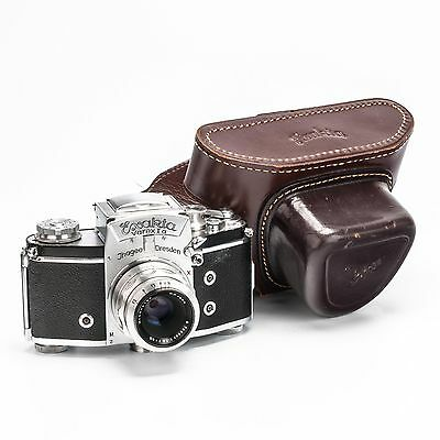 Exakta Varex IIa Left-Handed SLR w/ Zeiss Jena Tessar 50mm f/2.8 Lens and Case