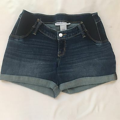 Liz lange Maternity Side Pannel Elastic Denim Jean Shorts XSmall
