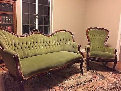 Antique Victorian Rococo Settee And Rocker