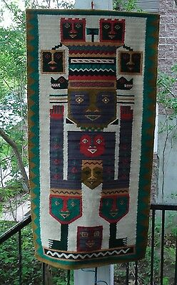 Cosmic Goddess Mother of Twins, Mayan hand-woven woolen tapestry. 1970s