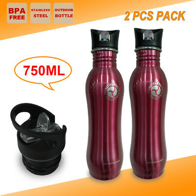 2x Stainless Steel Gym Water Bottle Camping Outdoor Sport OfficeTraining Kettle
