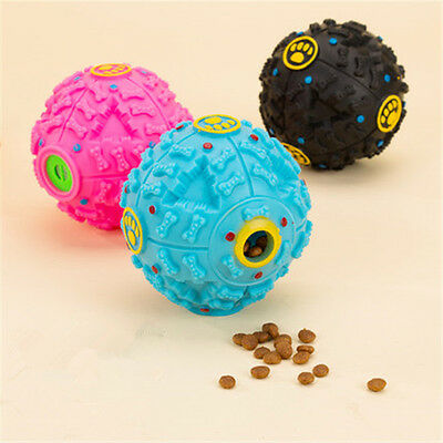 Fun Play Food Ball Pet Dog Tough Treat Training Chew Sound Activity Toy Squeaky