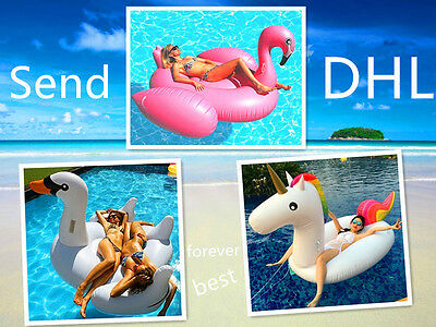 Summer Giant Inflatable Unicorn Flamingo Swan Floats Swim Pool Ring Water Rafts