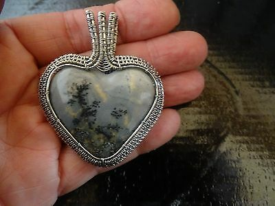 Dendratic Agate Heart Pendant Custom Handmade Sterling Silver Wire Wrapped