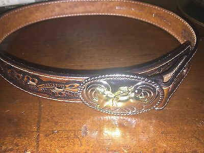 Boys NOCONA BELT BROWN LEATHER WITH RODEO METAL BUCKLE SIZE 28 Inches